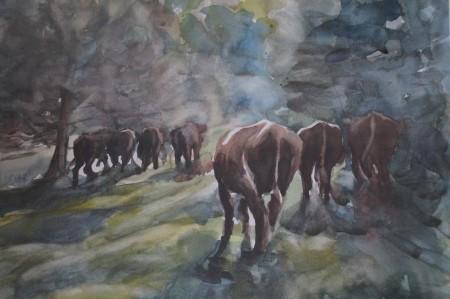 På väg hem , akvarell Inger Sundberg